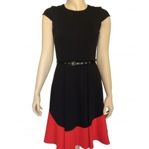 Black and Red Fit & Flared Dress with Belt